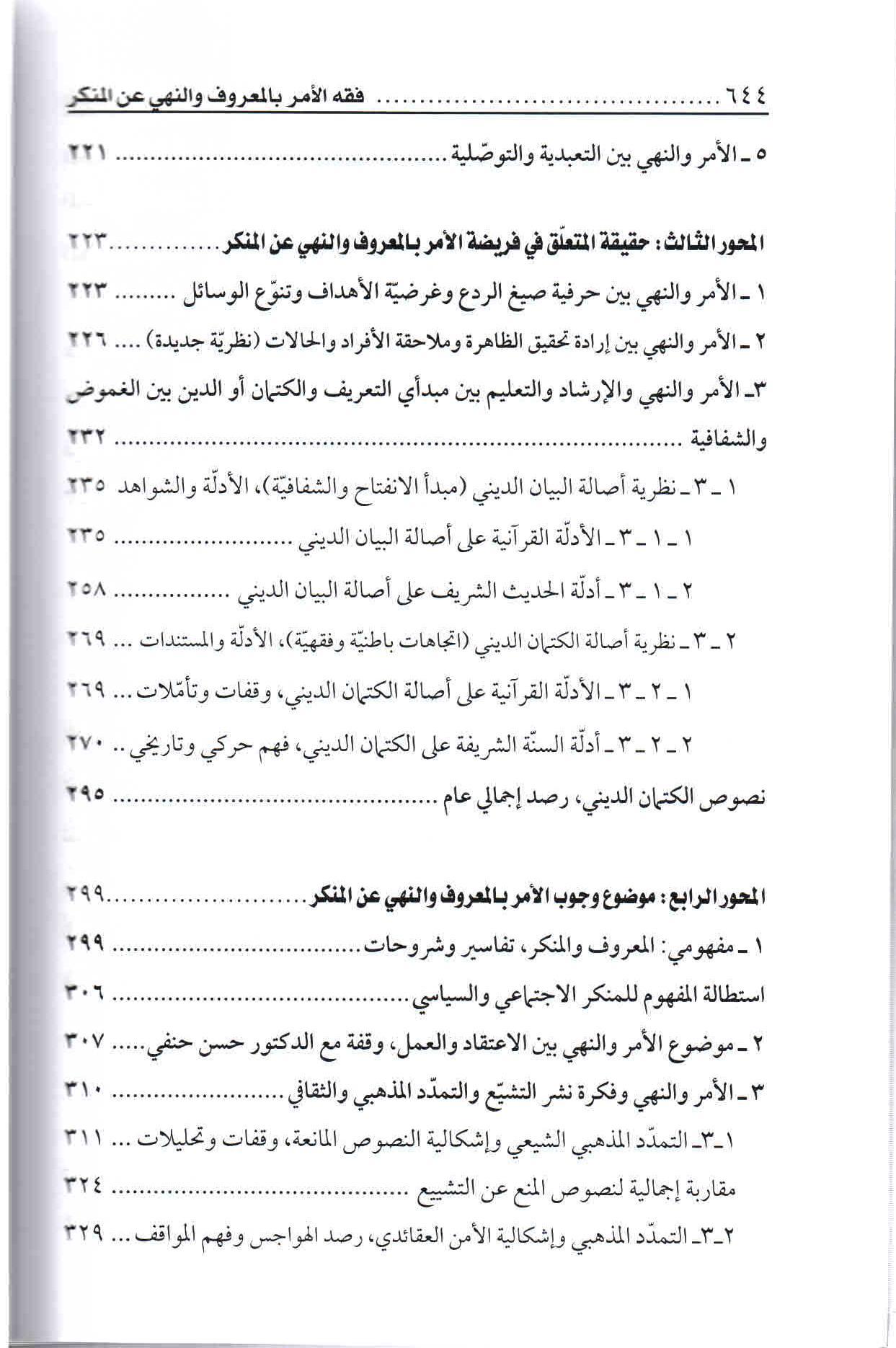 ص644 محتويات كتاب فقه الأمر بالمعروف والنهي عن المنكر