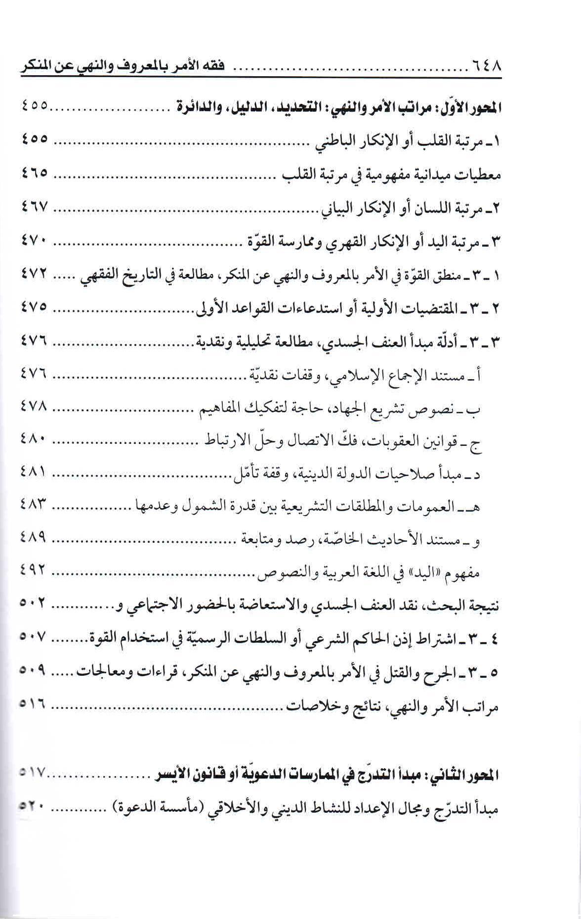 ص 648 محتويات كتاب فقه الأمر بالمعروف والنهي عن المنكر