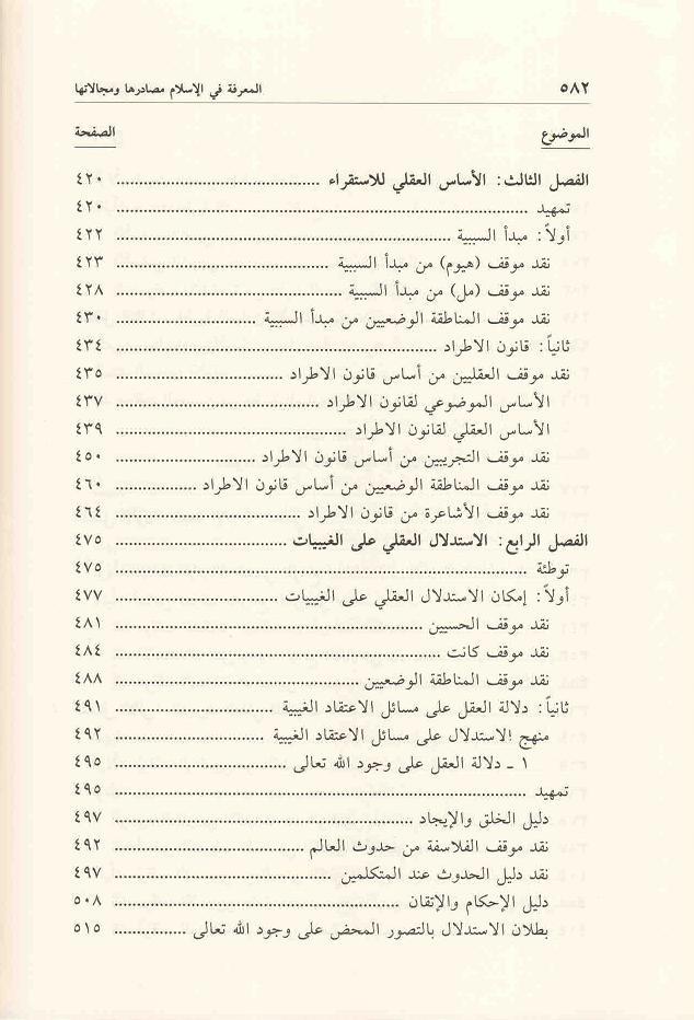 ص 582 محتويات كتاب المعرفة في الإسلام
