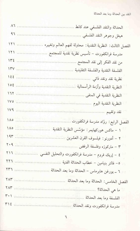 ص6محتويات كتاب النقد بين الحداثة وما بعد الحداثة