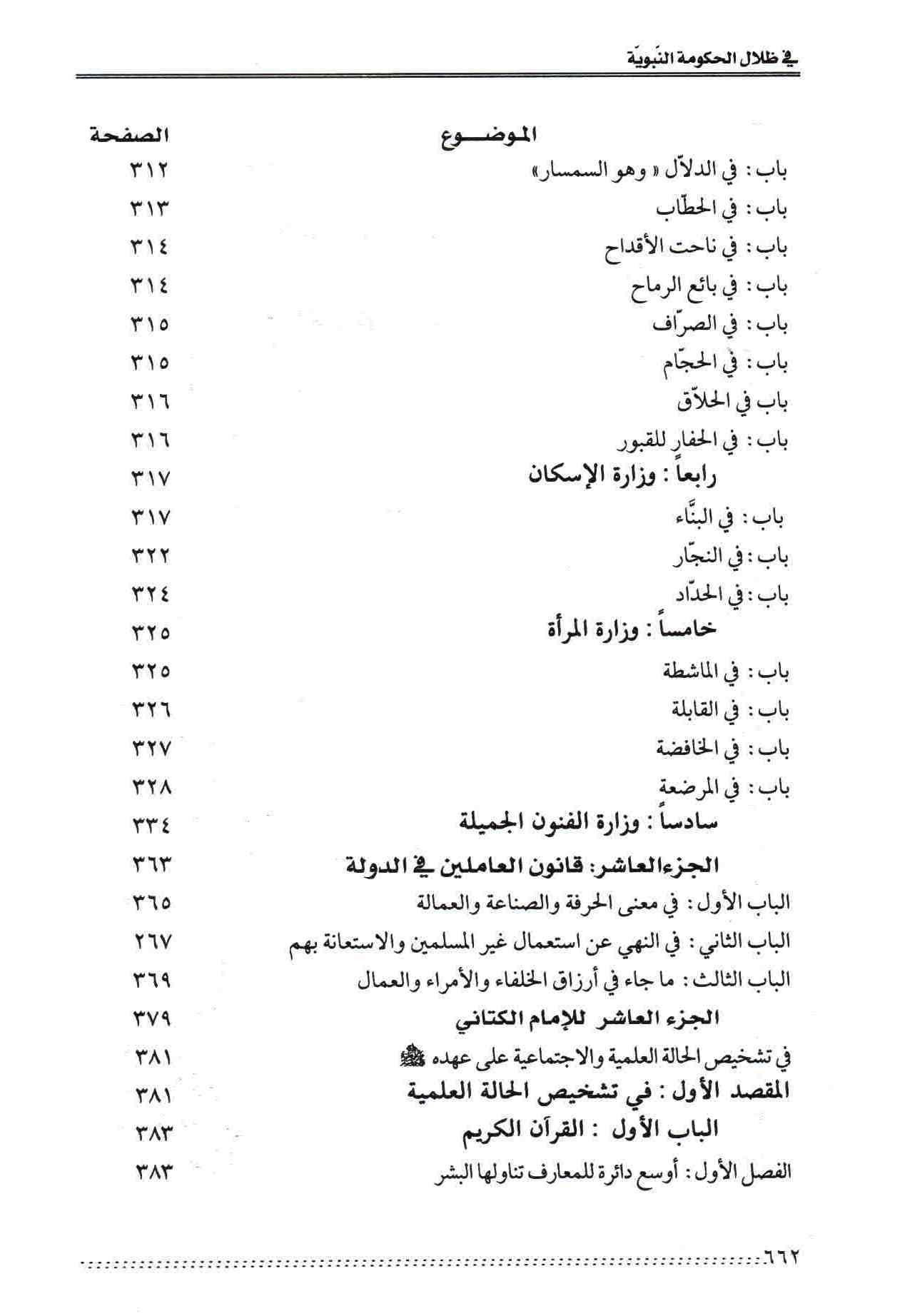 ص 62محتويات كتاب نظام الحكومة النبوية المسمي التراتيب الإدارية