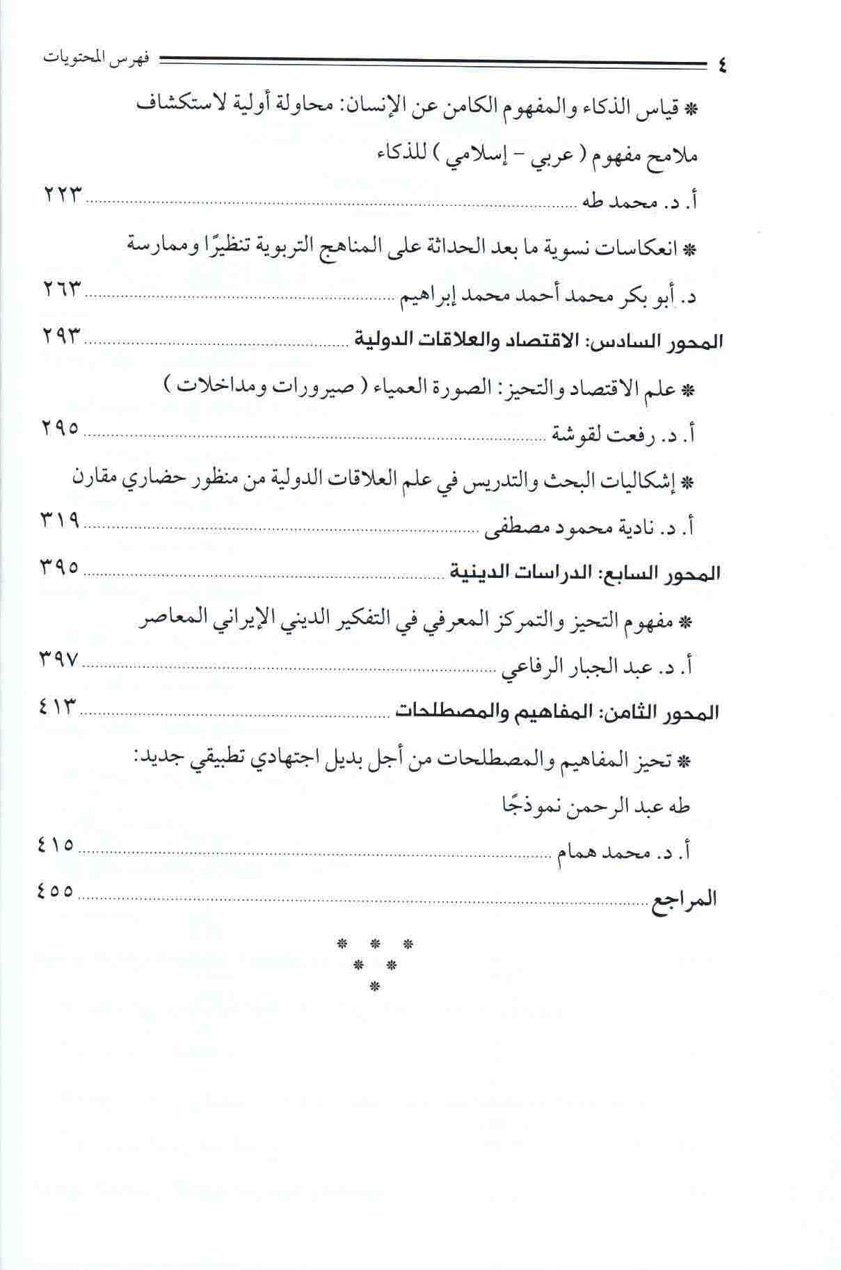 ص 4 قائمة محتويات المؤتمر الثاني لفقه التحيز