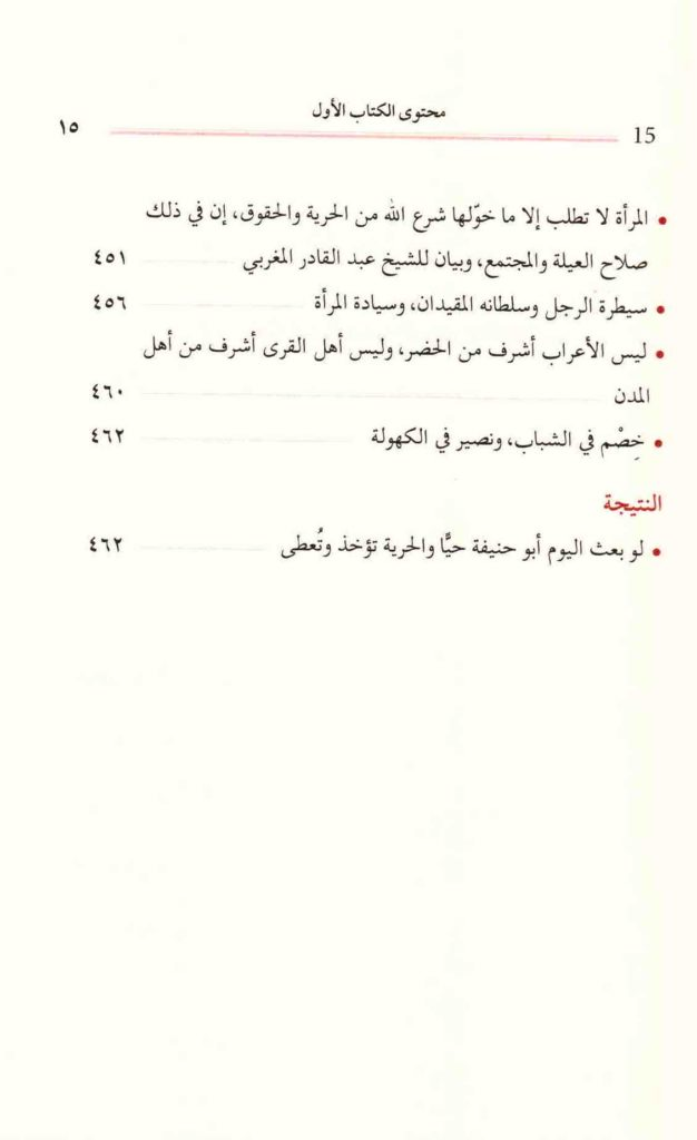 ص. 15 قائمة محتويات كتاب السفور والحجاب