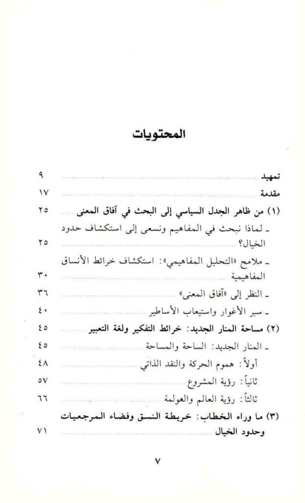 ص. 7 قائمة محتويات كتاب الخيال السياسي للإسلاميين