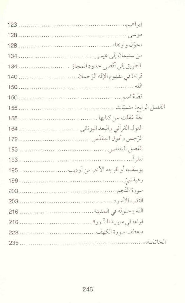 ص. 246 قائمة محتويات كتاب هل قرأنا القرآن؟