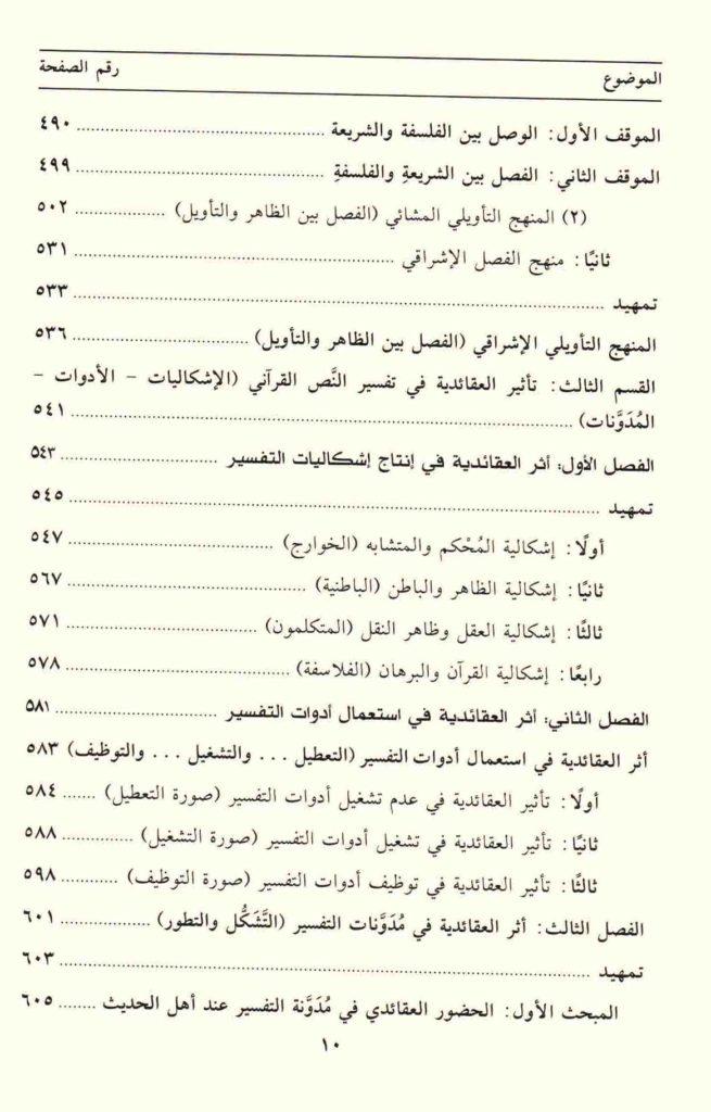 ص. 10 قائمة محتويات كتاب العقائدية وتفسير النص القرآني
